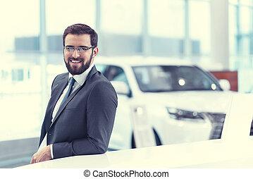 sorrindo, homem negócios