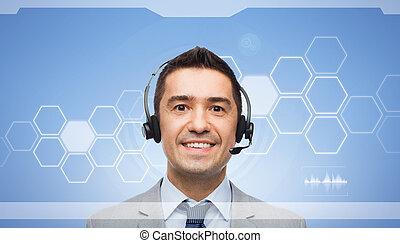 sorrindo, homem negócios, em, headset, sobre, virtual, tela