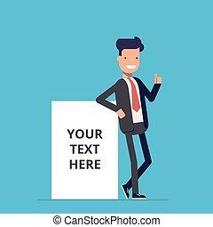 sorrindo, homem negócios, plataformas, perto, rede, anunciando, cartaz, onde, tu, lata, lugar, seu, text., um, homem, em, um, terno negócio, perto, um, em branco, cartaz, ou, banner., feliz, man., um, empregado, em, a, escritório.