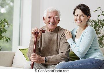 sorrindo, homem velho