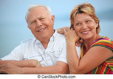 sorrindo, idoso, par casado, ligado, varanda, perto,...