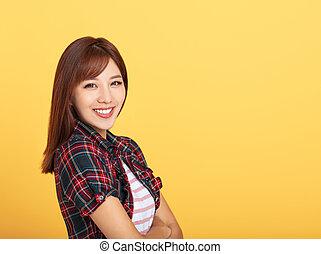 sorrindo, jovem, bonito, asiático, retrato, mulher