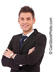 sorrindo, jovem, homem negócio