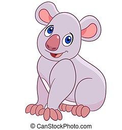sorrindo, koala