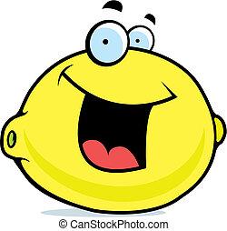 sorrindo, limão