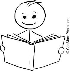 sorrindo, livro leitura, homem