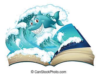 sorrindo, livro, tubarão