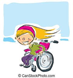 sorrindo, loiro, cadeira rodas, manual, rapidamente, em movimento, menina, caricatura, magenta, feliz