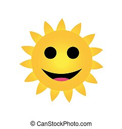 sorrindo, luminoso, sol amarelo