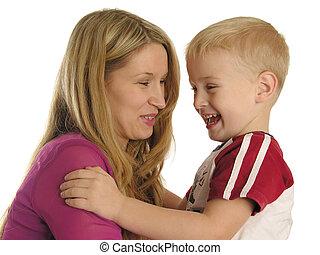 sorrindo, mãe, filho