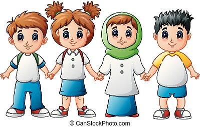 sorrindo, mãos, crianças, junto, segurando