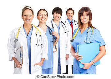 sorrindo, médico, doutores