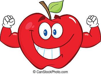 sorrindo, músculo, maçã, braços