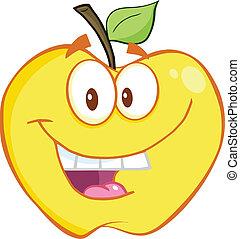 sorrindo, maçã, amarela
