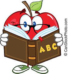 sorrindo, maçã, professor