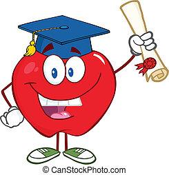 sorrindo, maçã, segurando, diploma