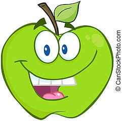 sorrindo, maçã verde