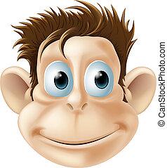 sorrindo, macaco, ilustração