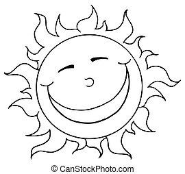 sorrindo, mascote, esboçado, sol