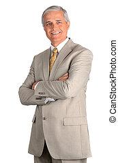 sorrindo, meio envelheceu, homem negócios