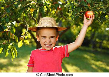 sorrindo, menino, com, maçã