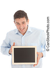 sorrindo, middle-aged, homem, segurando, um, pretas, tábua, com, a, tela branco, direção, a, visualizador