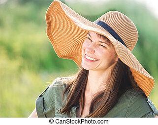 sorrindo, morena, chapéu, mulher