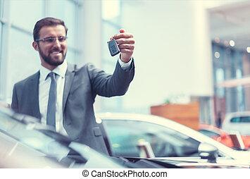 sorrindo, motorista