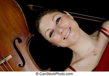 sorrindo, mulher,  Cello, chão