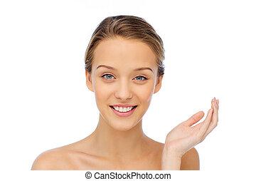 sorrindo, mulher jovem, rosto, e, ombros