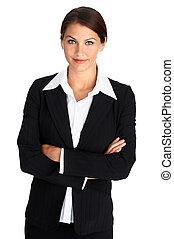 sorrindo, mulher negócio