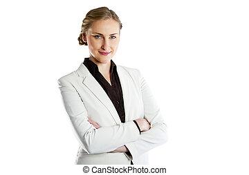 sorrindo, mulher negócio, isolado, branco, experiência., braços cruzados