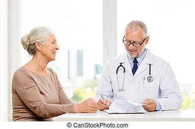 sorrindo, mulher, reunião,  Sênior, doutor