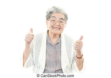 sorrindo, mulher velha