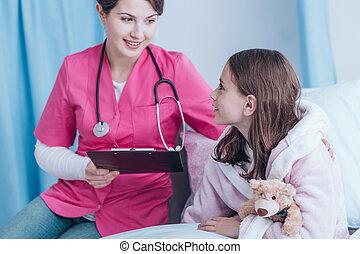 sorrindo, paciente, doutor jovem