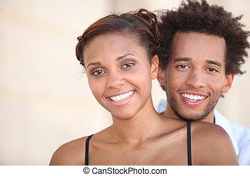 sorrindo, par, jovem