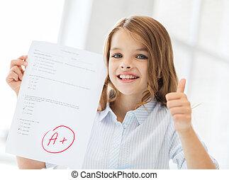 sorrindo, pequeno, estudante, menina, com, teste, e, um,...