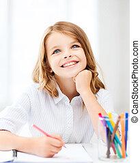 sorrindo, pequeno, estudante, menina, desenho, em, escola