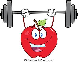 sorrindo, pesos, maçã, levantamento