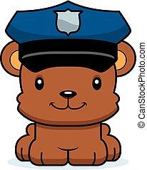 sorrindo, polícia, caricatura, urso, oficial