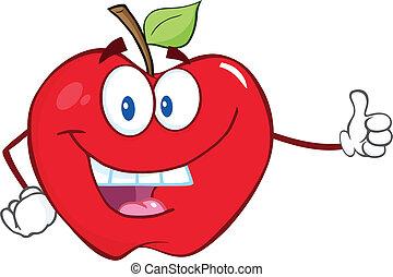 sorrindo, polegar, maçã, atrasando