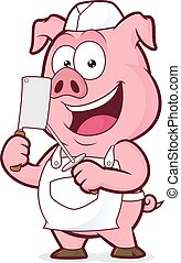 sorrindo, porca, açougueiro