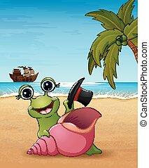 sorrindo, praia, caricatura, caracol