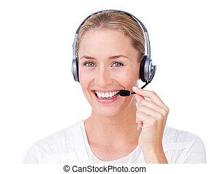 sorrindo, representante serviço cliente, usando, headset