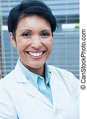 sorrindo, retrato, femininas, odontólogo