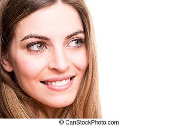 sorrindo, retrato, mulher, jovem