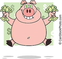 sorrindo, ricos, porca, com, dólar, olhos