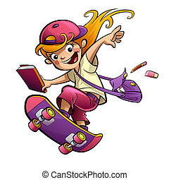 sorrindo, skateboard, ir, estudante, scho, menina, caricatura, feliz