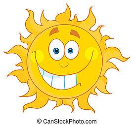 sorrindo, sol