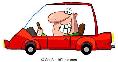 sorrindo, sujeito, dirigindo, um, carro vermelho